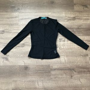 Johnny Was Black Mesh Long Sleeve Blouse S